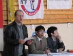 Skúšobná komisia - M. Jae Hee Chang 7.Dan a M. Park 4.Dan